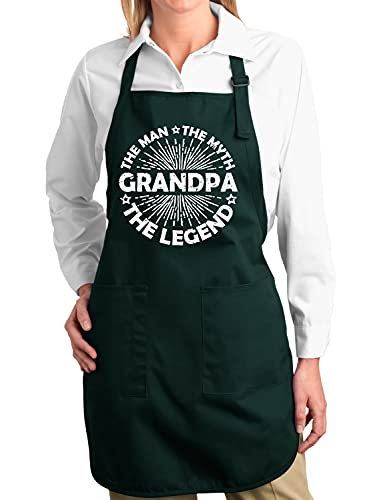 Grandpa Man Myth Legend Father's Day Gift Kitchen BBQ Grilling Cooking Graphic Apron with Pockets, Forest Green, One Size