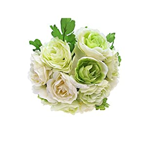 LACrafts Artificial Flower Bouquets for Kissing Balls, Floral Bouquets, Centerpieces and Decoration (44 Head Ranunculus, Cream/Green)