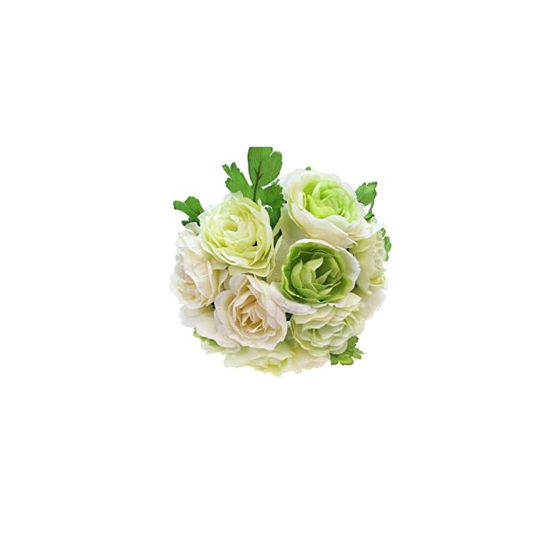 silk flower arrangements lacrafts artificial flower bouquets for kissing balls, floral bouquets, centerpieces and decoration (44 head ranunculus, cream/green)