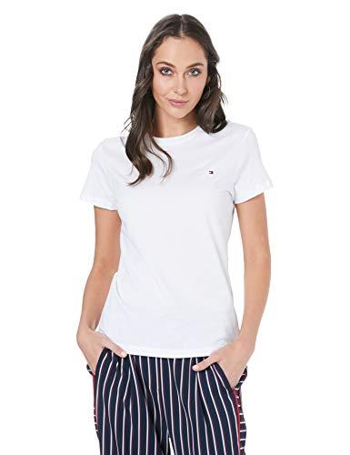 Tommy Hilfiger Damen Heritage Crew Neck Tee T-Shirt, Weiß (Classic White 100), One Size (Herstellergröße: M)