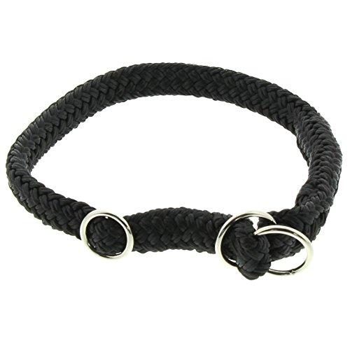 Dinoleine Hunde-Halsband/Stoppwürger, Größenverstellbar, Polyester, Größe: S/ 45 cm, Schwarz, 211102