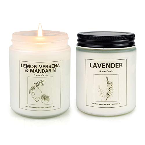Scented Candle, Aromatherapy Soy Candle for Home, Women Gift with Strongly Fragrance Scent Oils Jar Candles, Lavender & Lemon Verbena[2 Pack]
