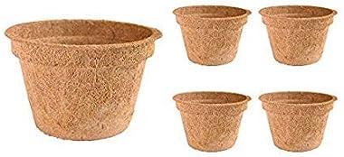 COIR GARDEN Coir Pot 6 inch - 5 Nos, Coco Basket for Gardening Plants & Flowers, Planters