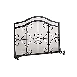 Plow & Hearth Small Crest Flat Guard Fireplace Screen