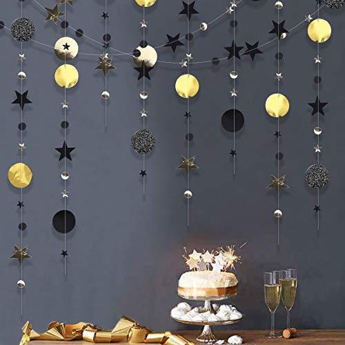 Dsaren 4 Piezas Guirnalda de Papel para Fiestas Negro y Oro Circle Circulo Estrellas Decoración Colgar Pared de Graduación, Año Nuevo, Cumpleaños, Bodas, Duchas de Bebés (Negro y Oro)