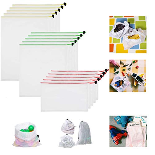 Wffo 15 Bolsas de producción livianas Reutilizables, Lavables, para Compras, Verduras, Frutas, Juguetes, fácil de Limpiar