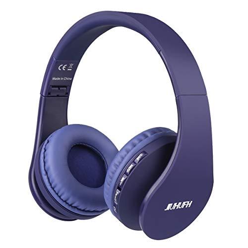 JIUHUFH Auriculares Bluetooth con Micrófono Incorporado/Reproductor de MP3 / Radio FM/Manos Libres para Teléfonos Celulares (Azul)