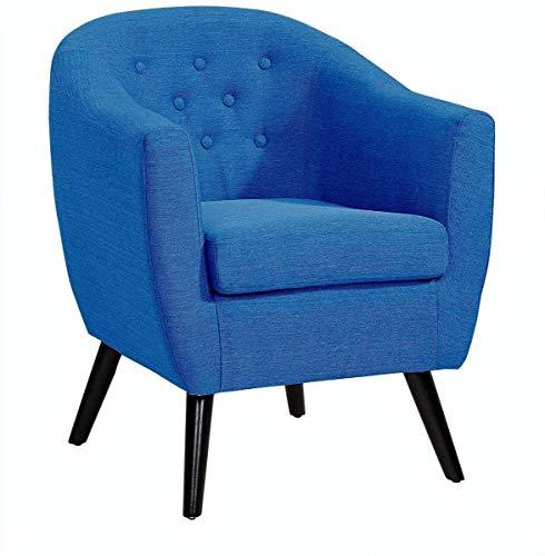 Mobilier Deco Jenna Chaises Longues, Tissu, Bleu, 67cm x 69cm x 77cm