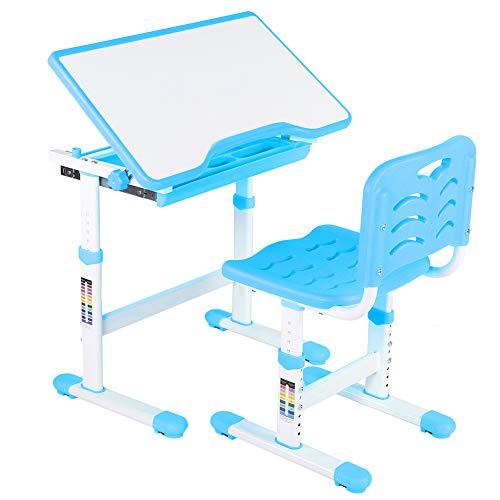 Biurko dziecięce z krzesłem i szufladą, regulowane, biurko młodzieżowe, stół dziecięcy, z krzesłem, wielofunkcyjne, wybór koloru (niebieskie)
