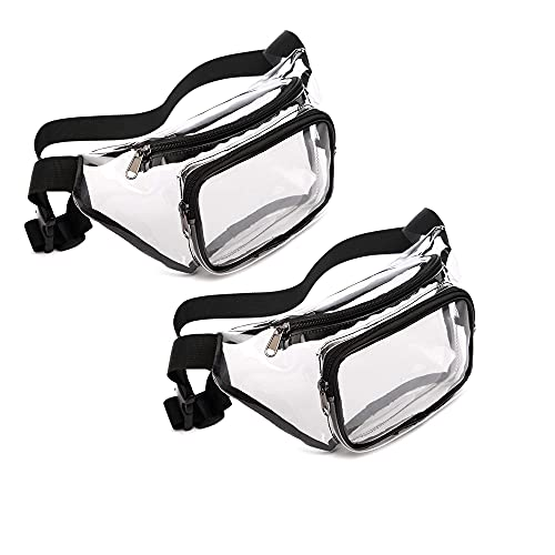 IMOBEINOR 2PCS Clear Fanny Pack Waterproof Cute Waist Bag Clear Purse Transparent Adjustable Belt Waist Bag for Women Men, Travel, Beach, Events, BTS Concerts Bag (C)
