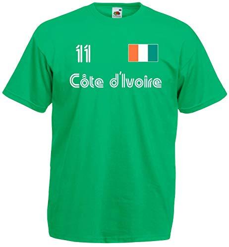 World of Shirt Herren T-Shirt Elfenbeinküste im Trikot Look