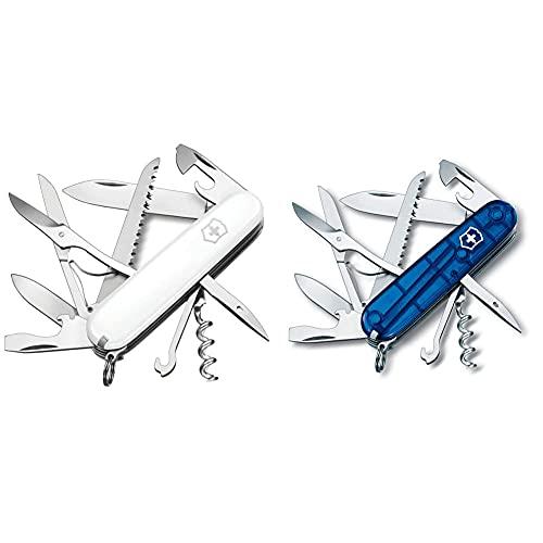 Victorinox V13713.7 Navaja Medio Huntsman, Blanco, M + Navaja De Oficial Huntsman, Color Azul Transparente