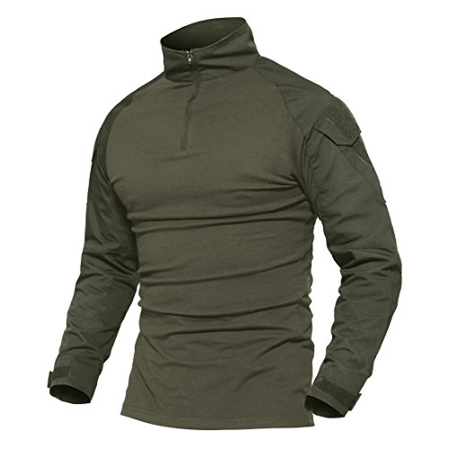 MAGCOMSEN Herren Militär Shirt Traingsshirt Männer Langarm Combat Paintball Shirt Multicam Fitnessshirt Atmungsaktiv Reißverschluss Airsoft Shirt Armee Grün M (Etikett XL)