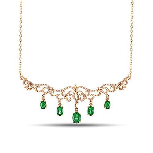 Beydodo Kette 750 Gold Echtschmuck Anhänger Filigran mit 3.475ct Oval Smaragd, Halskette Damen Diamant Echt 45CM