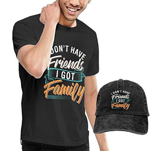 Henrnt Maglietta Uomo, I Don't Have Friends I Got Family Shirt Short Sleeve Denim Hats