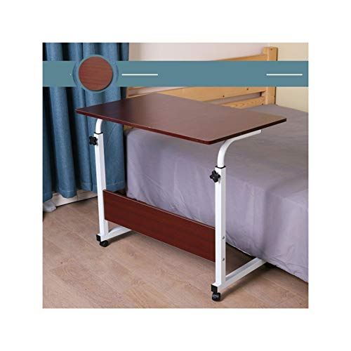 ABD Mesa de sobrecama con ruedas ajustable para portátil, mesa auxiliar de cama, soporte ajustable para ordenador portátil, bandeja de carro portátil (color: nogal rojo 80 x 50 cm)