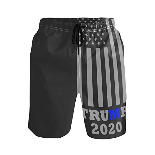 2020 Thin Blue Line Trump Mens Swim Trunks Quick Dry Board Shorts with Pockets Summer Swimsuit Beach Short