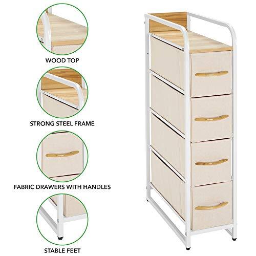 mDesign Vertical Narrow Dresser Storage Tower - Sturdy Steel Frame, Wood Top & Handles, Easy Pull Fabric Bins - Organizer Unit for Bedroom, Hallway, Entryway, Closets - 4 Drawers - Cream/White