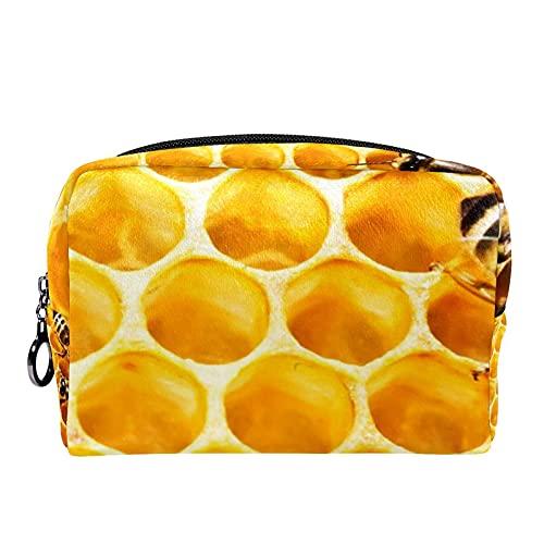 Bolsa de Maquillaje Bolsas de cosméticos de Viaje portátiles, Abejas en el Panal de la Colmena