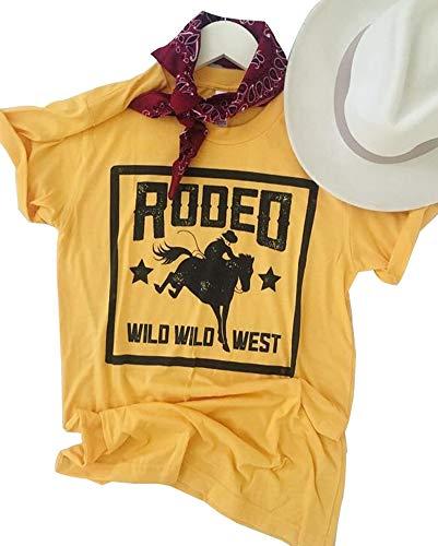 Anbech 80s Rodeo T-Shirt Women Short Sleeve Classic Retro Female Casual Tee Tops (XL, Yellow)