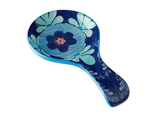 Maxwell & Williams Majolica Soporte para cucharas con diseño floral, cerámica, azul
