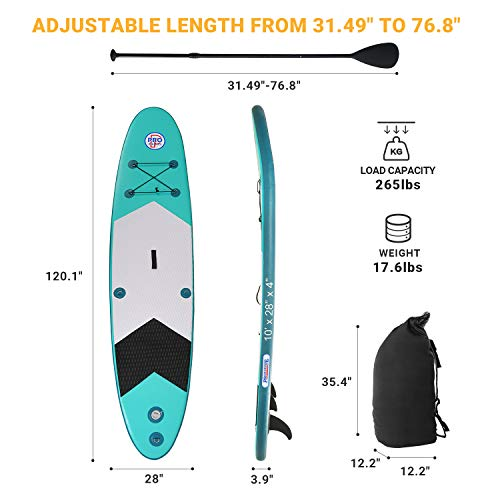 Product Image 4: Promarine Inflatable Stand Up Paddle Board Premium SUP Accessories & Backpack, Non-Slip Paddle Board, Leash, Paddle, Waterproof Backpack,Kayak Seat, Hand Pump, and Repair kit 120 Long 28 Wide 4 Thick