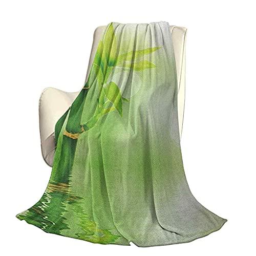 Planta Súper Suave y cálida Manta Decorativa Ecología China Imagen de bambú Que sobresale del Agua Atmósfera Serena Hermosa decoración para el hogar A60 x L50 Pulgadas Verde Esmeralda