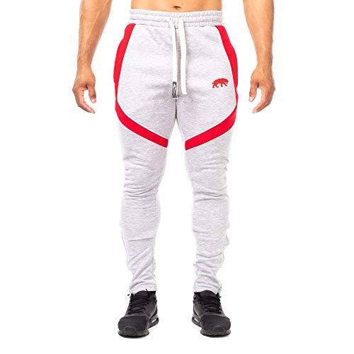 SMILODOX Slim Fit Herren Jogginghose 'Sky 2.0'| Trainingshose für Sport Fitness Gym Training | Sporthose - Jogger Pants - Sweatpants Hosen - Freizeithose Lang, Farbe:Grau/Rot, Größe:S