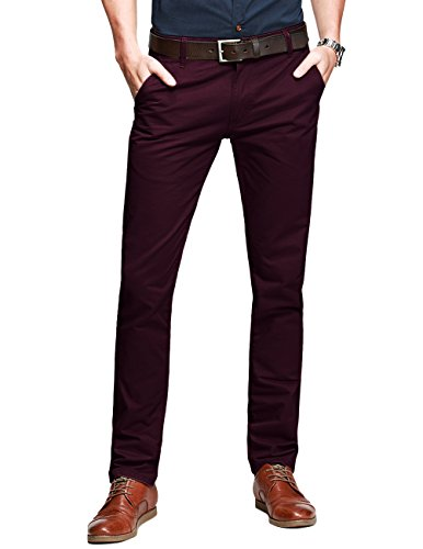 Match Mens Slim-Tapered Flat-Front Casual Pants(30W x 31L,Dark blue#1)
