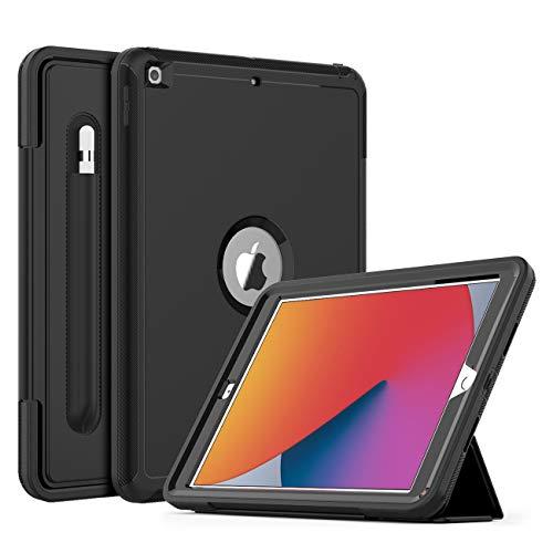 DAORANGE Hülle für Neu iPad 10.2 (8. Generation 2020/7. Generation 2019), Stoßfeste Schutzhülle Case[Stifthalter] mit Auto Schlaf/WachenFunktion Ständer für iPad 10,2 Zoll 2020/2019 (Schwarz)
