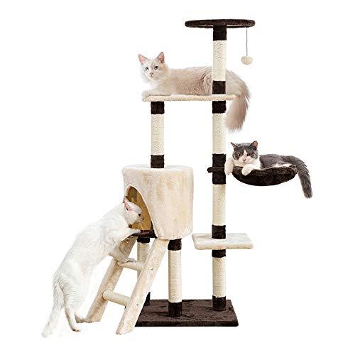 Famgizmo - Árbol rascador para gatos con poste de sisal, 139 cm, árbol rascador con cuña de gato, centro de actividades para gatos, con juguetes colgantes y escaleras, muebles para gato, marrón beige