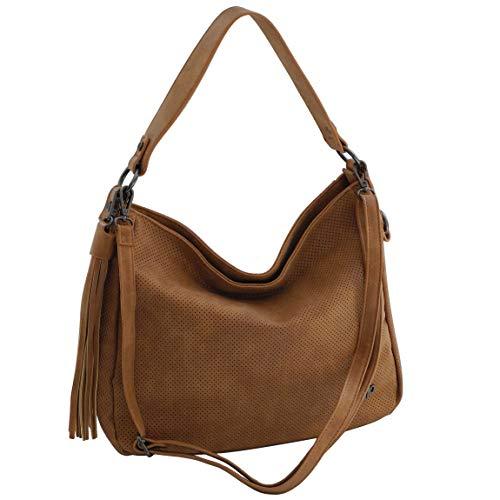 Moderne DamenHandtasche von Jennifer Jones - Schultertasche Umhängetasche Shopper Tragetasche Damentasche (Cognac) - präsentiert von ZMOKA®