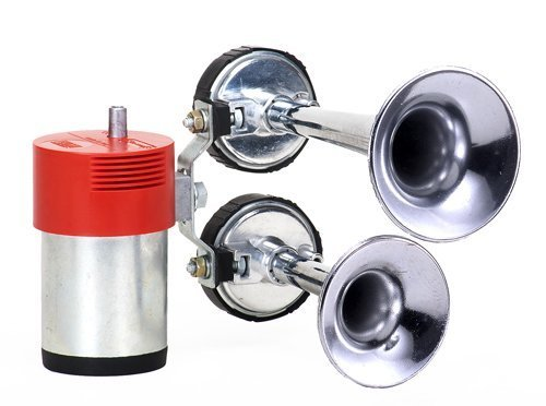 FIAMM 921985 dubbele trompet luchthoorns in chroom compleet met compressor