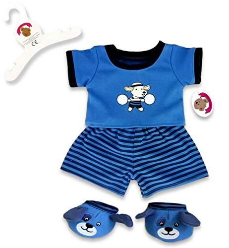 Build Your Bears Pyjama et Chaussons pour Ours en Peluche Motif Chien 38,1 cm (Bleu)