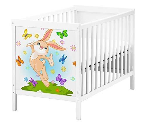 Set Möbelaufkleber für Ikea SUNDVIK Babybett Kinderzimmer Cartoon Hase Schmetterlinge Kat2 Wiese Ostern Hasen SU1 Aufkleber Möbelfolie sticker (Ohne Möbel) Folie 25T2594