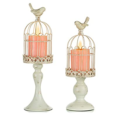 Sziqiqi Vintage Bird Cage Decorative Candle Lantern Set of 2 Decorative Pedestal Candle Holders for Pillar Candle for Tabletop Wedding Centerpiece Fireplace Mantel Decor Distressed Ivory