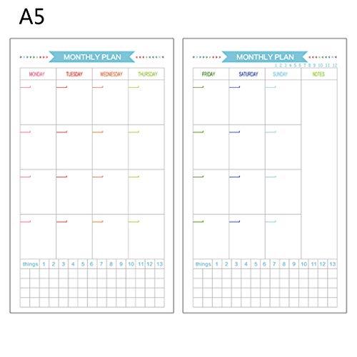 BOBEINI 6 Agujeros Recambio Diario de Papel Interior planificador de Mes de Semana para Cuaderno de Hojas Sueltas A5 C