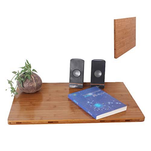 LM Bamboe Houten Wandophangtafel Thuis Tafel Laptop Tafel Bureau Wandplank, Natuurlijke Textuur Helder, met Klassieke Bedel