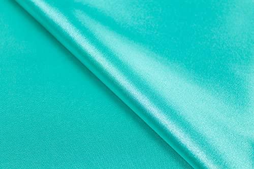Generico Raso al Mezzo Metro - Tessuto Satine Disponibile in 30 Colori - Altezza 160 cm - 145 gr/mtl - 100% Poliestere (Verde Tiffany)