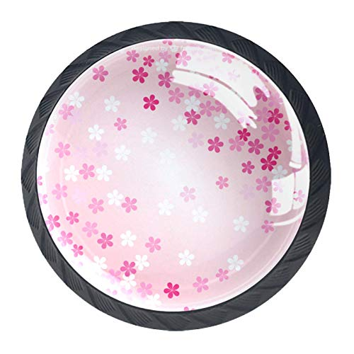 4 pomos de cristal de color rosa, diseño de flores de cerezo japonés