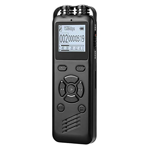 YDEROD Recorder 16GB Digital Voice Activated Recorder for Lectures, Meetings, Interviews-Mini Portable Recorder Devices with Password, USB, MP3,A-B Repeat - (Black)