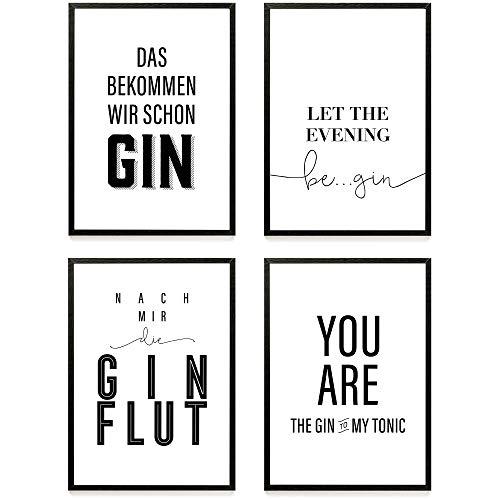Heimlich ® Premium Poster Set | Stilvolles Set mit passenden Bilder in Schwarz-Weiß | 4 Stück in DIN A4 (21x30cm) | Ohne Bilderrahmen » Gin Lover «