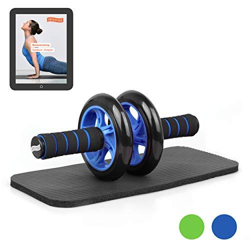 Joyletics® Bauchtrainer »Double Wheel« | Ab Roller inklusive NBR Matte für die Knie | Körpertraining mit Fokus auf die Bauch und Rückenmuskulatur – blau