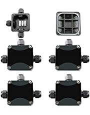 CESFONJER 4 stuks IP66 waterdichte aftakdoos, kabelschroefverbinding Ø 5 mm - 10 mm, 3-weg kabelstekker voor buiten/buiten