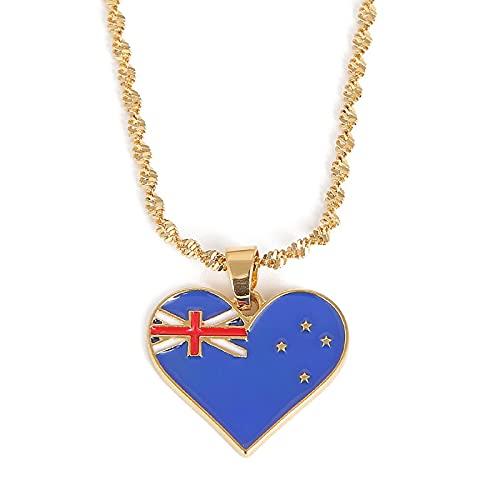 QDGERWGY Collares Pendientes de la Bandera de Australia de Moda de Acero Inoxidable Regalo Australiano de la joyería del corazón del Encanto