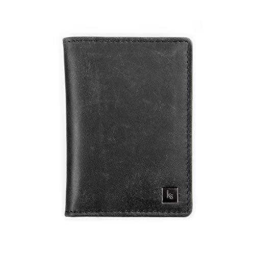 kohlesack® | Kleine Geldbörse, Geldbeutel, Portemonnaie mit Geldklammer für 5-6 (+2) Karten aus echtem Leder | Mit RFID Blocker (Kohle)