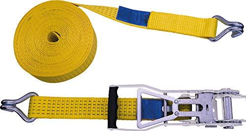 Petex 43193719 Ratschenspanngurt 2-teilig, 12 m, 50 mm, 2500/5000 daN, Doppelspitzhaken, Ratsche 35 cm, gelb
