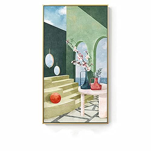 Kit de Pintura de Diamante 5D Grande Florero Flores Escaleras Taladro Completo DIY Diamond Painting Kit Completo Bordado de Diamantes de Imitación Punto de Cruz Decoración 30x60cm