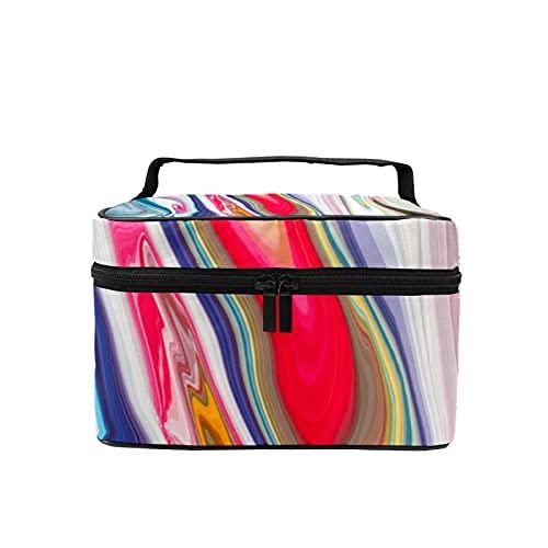 Bolsa de maquillaje de viaje grande bolsa de cosméticos colorida textura de mármol maquillaje caso organizador con bolsa de malla para mujeres y niñas