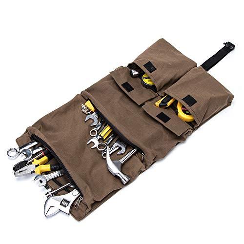 ツールロール 工具バッグ ツールケース 工具袋 折り畳み式 車載 2way 大容量 携帯便利(カーキ)
